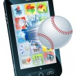 Baseball ball flying out of mobile phone - Stock Vector