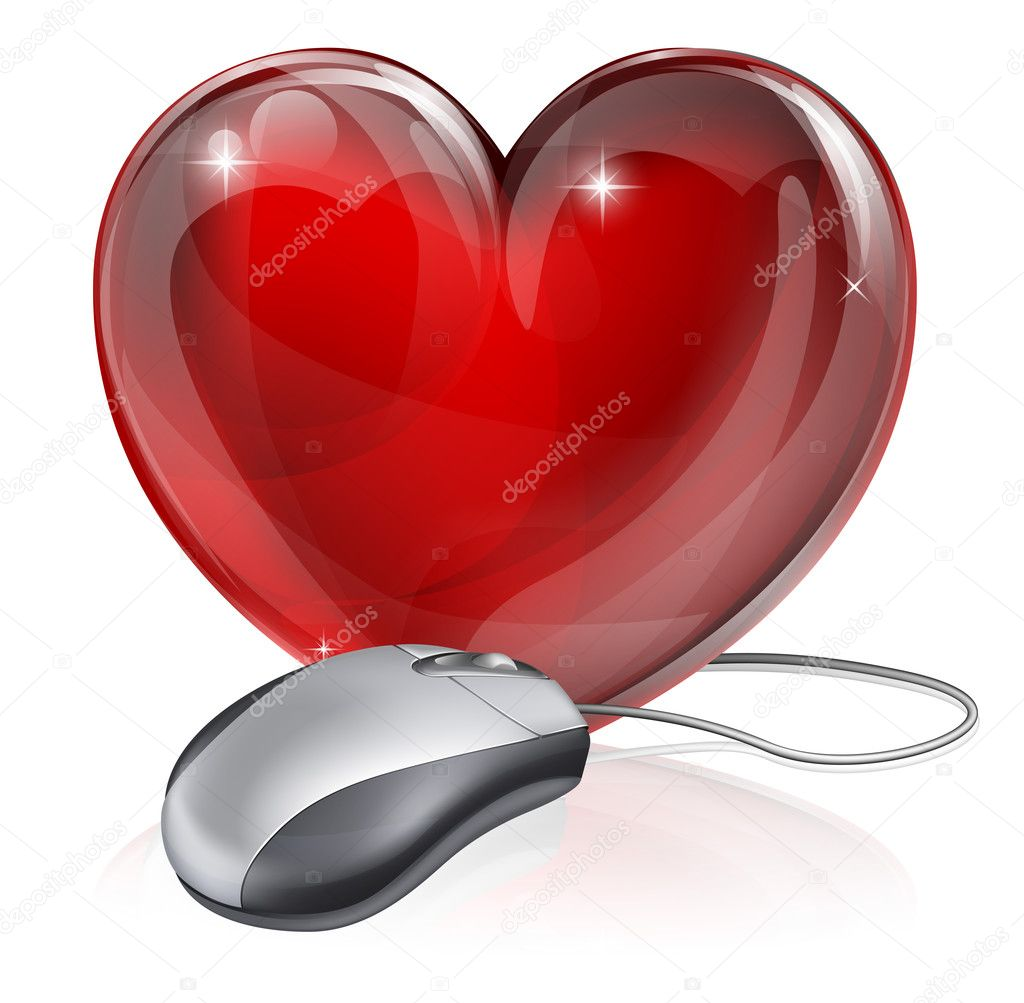 Illustration of a computer mouse connected to a red heart symbol, concept for online dating, romance or similar — Stock Vector #13444544
