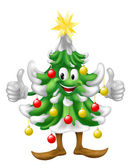 Christmas tree mascot doing thumbs up — Stock Vector