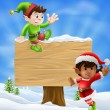 Christmas Elves and Sign - Stock Vector