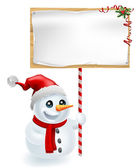 Christmas Snowman and Sign — Stock Vector