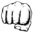 Hand in fist punching from front - Stock Vector
