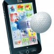 Golf ball flying out of mobile phone - Stock Vector