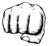Hand in fist punching from front — Vector de stock