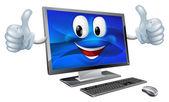 Desktop computer mascot — Stock Vector
