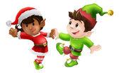 Christmas Elves Dancing — Stock Vector