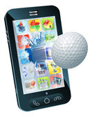 Golf ball flying out of mobile phone — Stock Vector