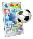 携帯電話から飛んでサッカー ボール — ストックベクタ
