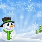Christmas Snowman Scene — Stock Vector