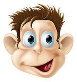 Laughing happy monkey face cartoon — Stock Vector