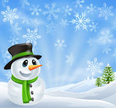 Christmas Snowman Scene — Stock Vector