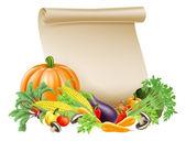 Thanksgiving or fresh produce scroll — Stock Vector