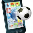 Soccer ball flying out of cell phone - Imagens vectoriais em stock