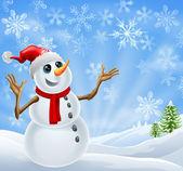 рождество снеговик зимний пейзаж — Cтоковый вектор