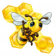Bee and honeycomb — Stockvektor