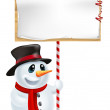 Christmas Snowman Holding Sign — Stock Vector #13963486