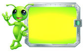 Alien with sign or screen — Stock Vector