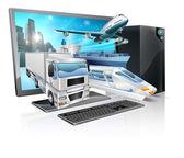 Desktop pc logistics concept — Stock Vector