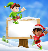 Christmas Characters and Sign — Stock Vector