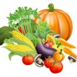 Healthy fresh produce vegetables - Stock Vector