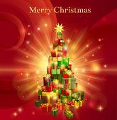 红色快乐圣诞礼品树设计 — 图库矢量图片