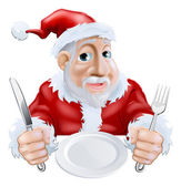 Happy cartoon Santa Ready for Christmas Dinner — Stockvector
