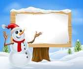 Christmas Snowman and Winter Sign — Stock Vector