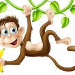 Monkey swinging with banana — Stock Vector