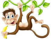 Monkey swinging with banana — Stock Vector