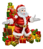 Santa Claus and Christmas Gifts — Stock Vector