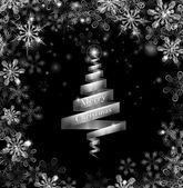Abstrakte silber band-weihnachtsbaum — Stockvektor