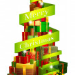 Gifts tree with Merry Christmas ribbon — Stockvectorbeeld