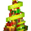 Gifts tree with Merry Christmas ribbon — Imagen vectorial