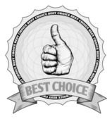 Thumbs up best choice award badge — Stock Vector