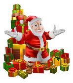 Santa and Christmas Gifts — Stock Vector