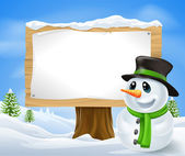 Christmas Snowman Sign — Stock Vector