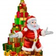 Santa Claus Christmas Tree Gifts — Stockvectorbeeld