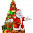 Santa Claus Christmas Tree Gifts — Imagen vectorial
