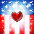 Stock Vector: American Heart Patriotic Background