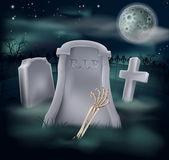 Undead skeleton hand grave — Stock Vector