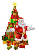 Santa Claus Christmas Tree Gifts — Stockvektor