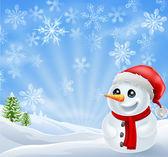 Muñeco de nieve Navidad en escena Nevado — Vector de stock