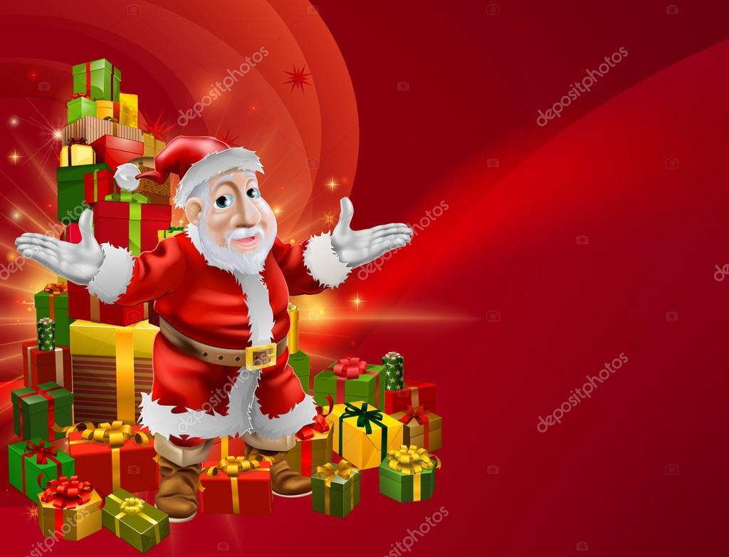 红色卡通圣诞老人背景