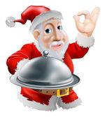 Santa with food — Stock Vector