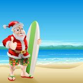 Santa on the beach — Stock Vector