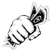 Poing de la main avec illustration de la trésorerie — Vecteur