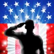 Stock Vector: US flag military soldier saluting in silhouette
