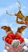 Santa in chimney and reindeer — Stock Vector