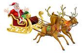 Santa Christmas Sled — Stock Vector
