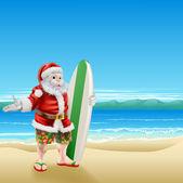 Surf Santa on the beach — Stock Vector